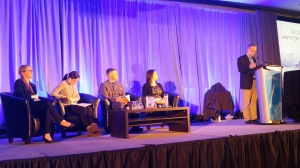 ArcticNet 2016 Panel Discussion – 'Vision for Sustainable Arctic Communities' Panellists (left to right: Sherilee Harper, Megan Dicker, Jamie Snook, Shelly Elverum); Chair: Chris Furgal