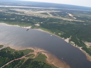 Happy Valley-Goose Bay port, airfield (YYR), 5 Wing Goose Bay, and the Churchill River.